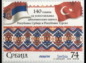 Serbien Serbia 2019 Nr. 891 140 Jahre diplomatische Beziehungen mit der Türkei