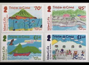 Tristan da Cunha 2019 Nr 1326-29 Kinderzeichnungen Kinderkunst