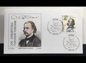 Bund BRD Ersttagsbrief FDC 5. Dezember 2019 Nr. 3508 Geburtstag Theodor Fontane