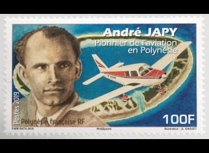 Polynesien französisch 2019 Neuheit André Japy Berühmter Pilot und Flieger