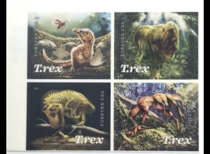 USA Amerika 2019 Nr. 5647-50 Tyrannosaurus rex mit geriffeltem Kunststoffüberzug