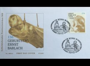 Bund BRD Ersttagsbrief FDC 2. Januar 2020 Nr. 3521 150. Geburtstag Ernst Barlach