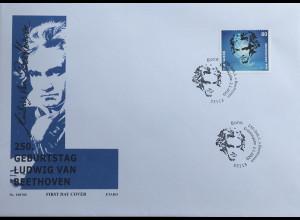 Bund BRD Ersttagsbrief FDC 2. Januar 2020 aus Block 85 250 Geburtstag Beethoven