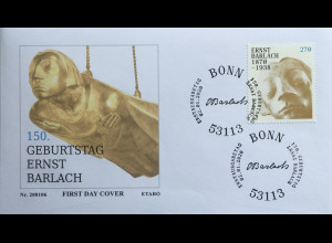 Bund BRD Ersttagsbrief FDC 2. Januar 2020 Nr. 3514 150. Geburtstag Ernst Barlach