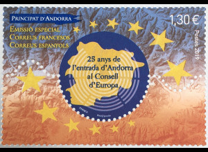 Andorra französisch 2019 Nr. 859 25 Jahre Mitgliedschaft Andorras im Europarat