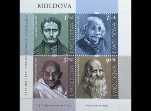 Moldawien Moldova 2019 Block 84 Persönlichkeiten, die die Welt veränderten