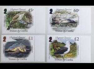 Tristan da Cunha 2019 Nr 1330-33 Umherwandernde Arten Irrgäste Vögel Tiere Birds