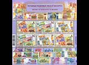 Weißrussland Belarus 2019 Block 181 Geschichte des Geldes Banknoten Rubel