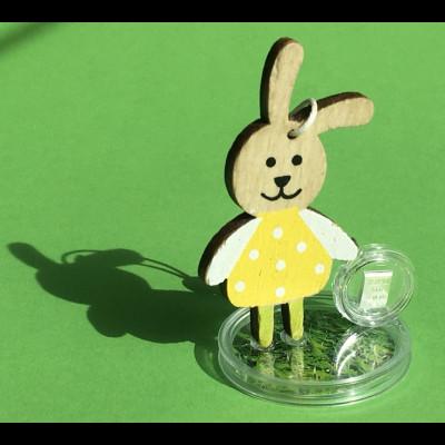 Geschenkidee zu Ostern 1 g. Silberbarren mit Hase aus Holz zum Aufstellen