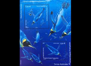 Franz. Antarktis TAAF 2019 Block 73 Pinguine flugunfähige Seevögel Tiere Birds