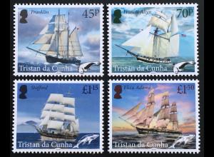Tristan da Cunha 2019 Nr 1334-37 Wal- und Robbenfangschiffe Segelschiffe Schiffe