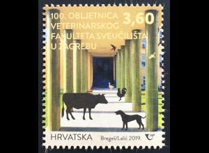 Kroatien Croatia 2019 Neuheit 100 Jahre Universität Zagreb Veterinärmedizin