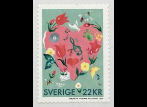 Schweden Sverige 2019 Neuheit Rollenmarke Herzmotiv Grußmarke