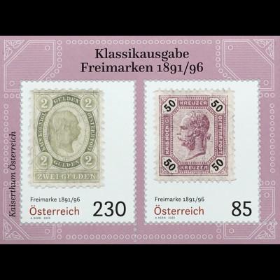 Österreich 2020 Block 112 Klassische Briefmarken (VIII) – Freimarken von 1891/96