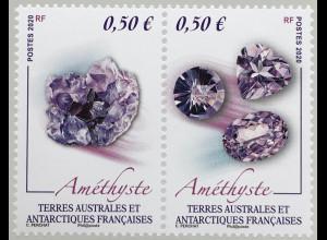Franz. Antarktis TAAF 2020 Nr. 1066-67 Mineralien mit Glanz und Glitzerfolie
