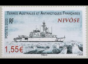 """Franz. Antarktis TAAF 2020 Nr. 1063 Schiffe Fregatte """"Nivôse"""" Schiffsverkehr"""