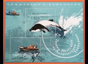 Franz. Antarktis TAAF 2020 Block 78 Commerson-Delfin bei den Kerguelen
