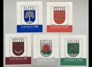 Lettland Latvia 2019 Neuheit Freimarke Wappen Durbes Krimuldas Krokneses Babites
