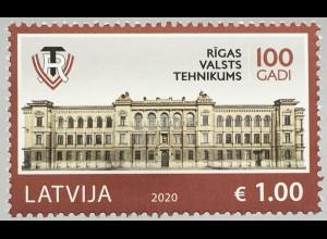 Lettland Latvia 2019 Neuheit 100 Jahre staatliche Technikschule in Riga