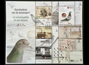 Belgien 2020 Block 249 Geschichte des Taubenrennens Taubensport Tiere Fauna