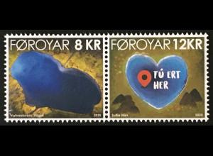 Dänemark Färöer 2020 Nr. 968-69 Valentinstag: Vatndalsvatn Herzmotiv Herzsee
