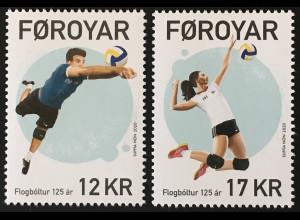 Dänemark Färöer 2020 Nr. 972-73 125 Jahre Volleyball Ballsport Wettkampf