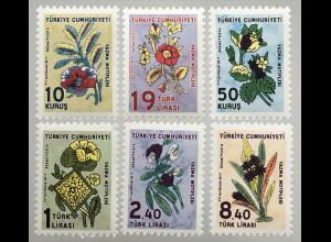 Türkei Turkey 2019 Michel Nr.403-08 Dienstmarken Stoffmuster: Blumen