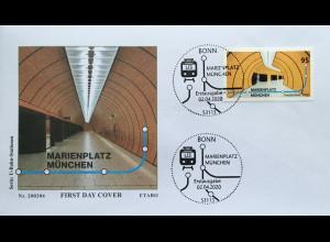 Bund BRD Ersttagsbrief FDC 2.April 2020 Nr. 3538 U-Bahn-Stationen Marienplatz