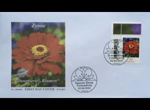 Bund BRD Ersttagsbrief FDC 2. April 2020 Nr. 3535 Freimarke Blumen Zinnie