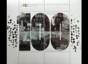 Litauen Lithuania 2020 Block 65 100 Jahre Modernes Litauen Demokratie Geschichte