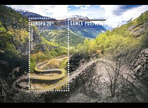 Norwegen 2020 Block 54 EUROPA Historische Postwege Postbeförderung Landschaft
