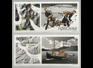 Dänemark Färöer 2020 Nr. 979-80 Europamarken Historische Postrouten