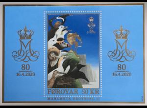 Dänemark Färöer 2020 Block 54 80. Geburtstag von Königin Margrethe II.