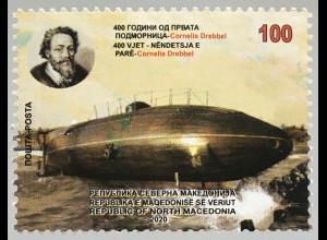 Makedonien Macedonia 2020 Neuheit Cornelis Drebbel 400 Jahre erstes U-Boot