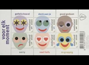 Niederlande 2020 Block 186 Für jeden Anlass Grußmarken Glücklich Traurig Ärger