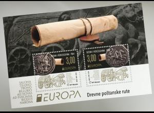 Bosnien Herzegowina Kroatische Post Mostar 2020 Block 44 Historische Postwege