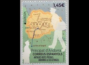 Andorra spanisch 2020 Nr. 494 Europaausgabe Historische Postwege Postrouten