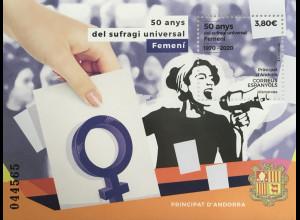 Andorra spanisch 2020 Block 19 50 Jahre allgemeines Frauenwahlrecht Frauenrechte