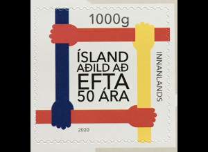 Island Iceland 2020 Nr. 1601 50 Jahre Mitglied EFTA Europ Freihandelsassoziation