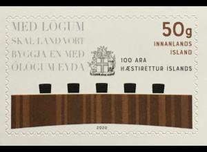 Island Iceland 2020 Nr. 1602 100 Jahre Oberster Gerichtshof Judikative Justizia