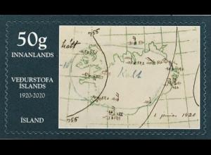 Island Iceland 2020 Nr, 1600 100 Jahre Wetteramt Wetterdienst Wettervorhersage
