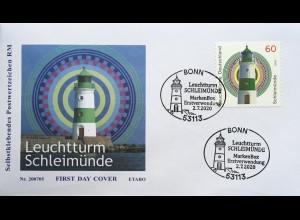 Bund BRD Ersttagsbrief FDC 2. Juli 2020 Nr. 3555 Leuchtturm Schleimünde