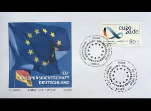 Bund BRD Ersttagsbrief FDC 2. Juli 2020 Nr. 3554 Vorsitz Rat Europäischen Union