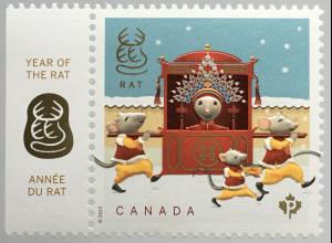 Kanada Canada 2020 Neuheit Year of the Rat Mouse Lunarserie Jahr der Ratte Maus