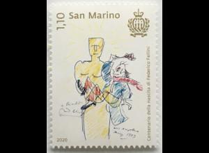 San Marino 2020 Neuheit Federico Fellini Regisseur Filmemacher ital. Kino