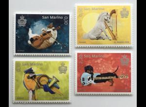 San Marino 2020 Neuheit Tiere und Musikinstrumente Geige Harfe Posthorn Bass