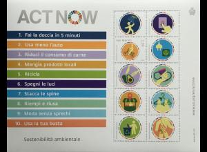 San Marino 2020 Neuheit Umweltverträglichkeit Umweltschutz Paralellausgabe UNO