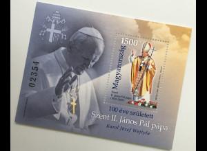 Ungarn Hungary 2020 Neuheit 100. Geburtstag Papst Johannes Paul aus Polen