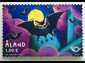 Aland 2020 Nr. 488 NORDEN: Säugetiere Fledermäuse Fauna Kunst Zeichnung