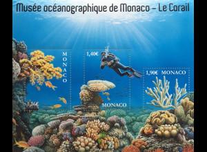 Monako Monaco 2020 Block 133 Korallen aus Aquarium Ozeanographischen Museums.